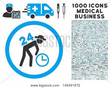 Around the Clock Work icon with 1000 medical business gray and blue vector design elements. Collection style is flat bicolor symbols, white background.