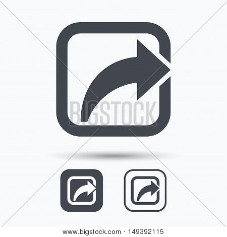 Share icon. Send social media information symbol. Square buttons with flat web icon on white background. Vector