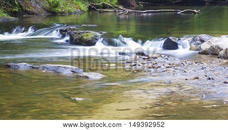 Wilson Creek in North Carolina running over a ledge of rocks