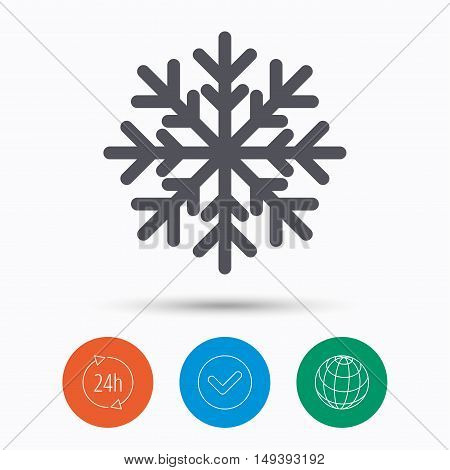 Snowflake icon. Air conditioning symbol. Check tick, 24 hours service and internet globe. Linear icons on white background. Vector