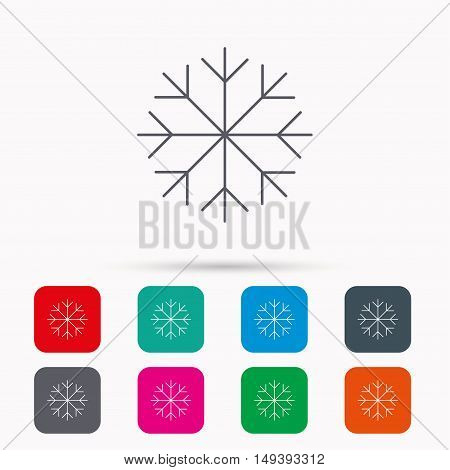 Snowflake icon. Snow sign. Air conditioning symbol. Linear icons in squares on white background. Flat web symbols. Vector
