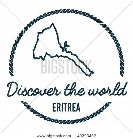 Eritrea Map Outline. Vintage Discover The World Rubber Stamp With Eritrea Map. Hipster Style Nautica