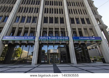 Grand Rapids, Michigan, USA - September 17, 2016: Entrance to the Fifth Third Bank building located in downtown Grand Rapids, Michigan. Fifth Third is headquartered in Cincinnati, Ohio.