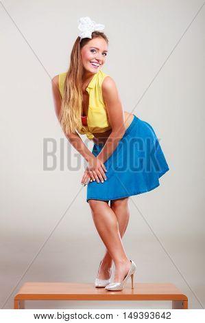 Seductive Pin Up Woman Girl Dancing On Table.