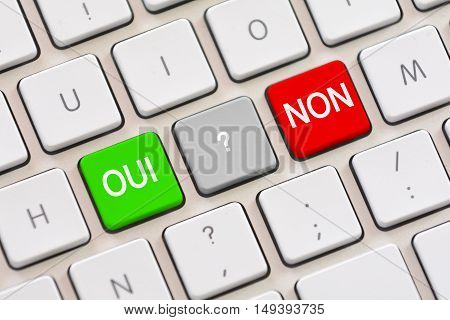 Oui or Non choice in French on keyboard