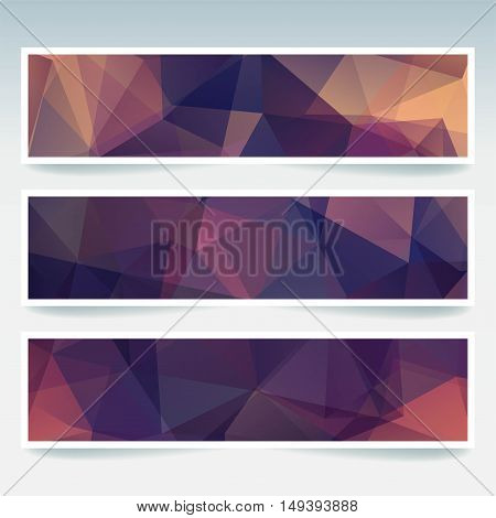 Horizontal Banners Set With Polygonal Triangles. Polygon Background, Vector Illustration. Purple, Br