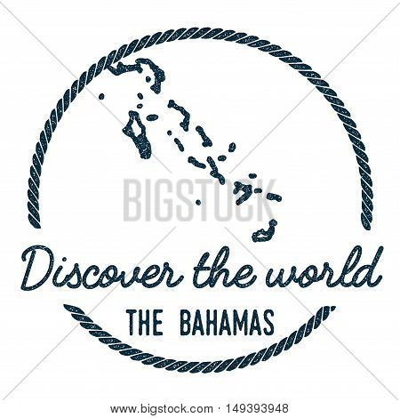 Bahamas Map Outline. Vintage Discover The World Rubber Stamp With Bahamas Map. Hipster Style Nautica