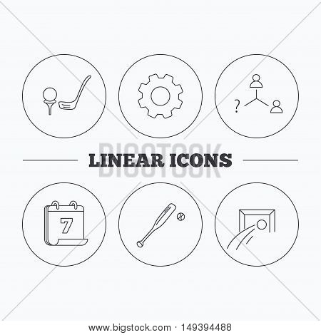 Football, golf and baseball icons. Vacancy linear sign. Flat cogwheel and calendar symbols. Linear icons in circle buttons. Vector