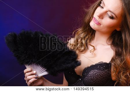 Woman Holding Carnival Feather Fan In Hand.