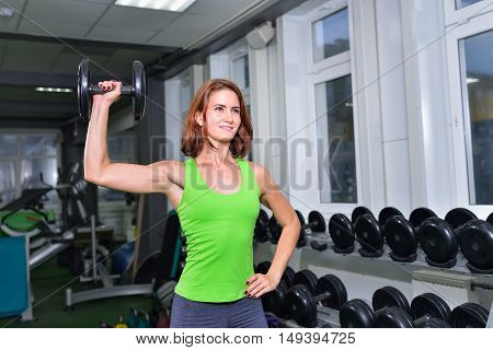 Fitness, sport, exercising lifestyle - middle age athletic woman doing exercises with dumbbell at gym.