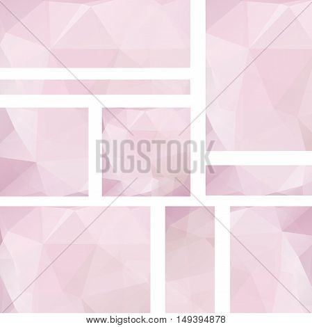 Horizontal Banners Set With Polygonal Pastel Pink Triangles. Polygon Background, Vector Illustration