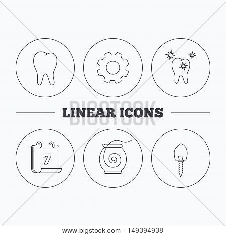 Tooth, healthy teeth and dental implant icons. Dental floss linear sign. Flat cogwheel and calendar symbols. Linear icons in circle buttons. Vector