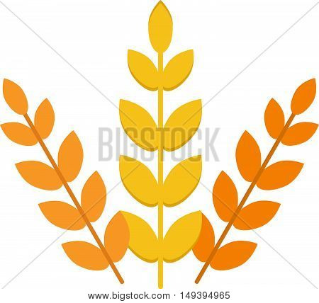 Ears of wheat agriculture food natural vector illustration. Agriculture food wheat ear and healthy wheat ear. Nature grow gold rye wheat ear, autumn barley field harvest wheat ear.