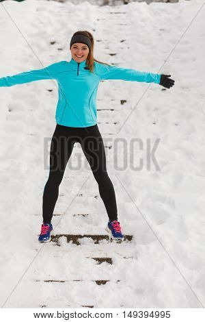 Young Lady Having Fun On Snow.