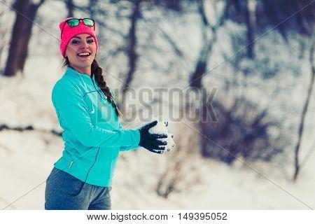 Girl Having Fun With Snow