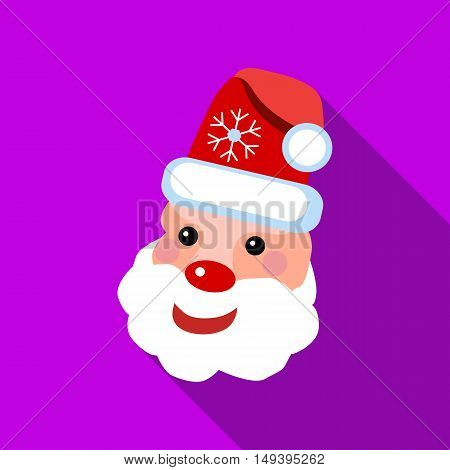 Santa Claus icon in flat style with long shadow vector illustration