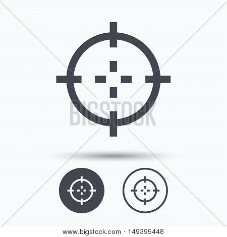 Target icon. Crosshair aim symbol. Circle buttons with flat web icon on white background. Vector