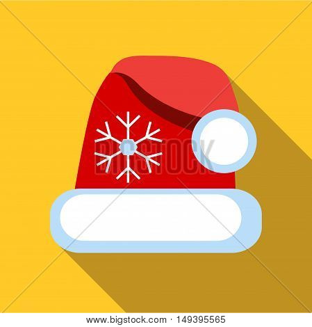 Santa hat icon in flat style isolated with long shadow vector illustration