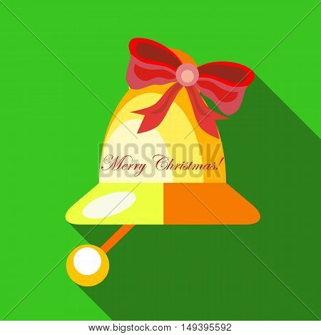 Christmas bell icon in flat style isolated with long shadow vector illustration