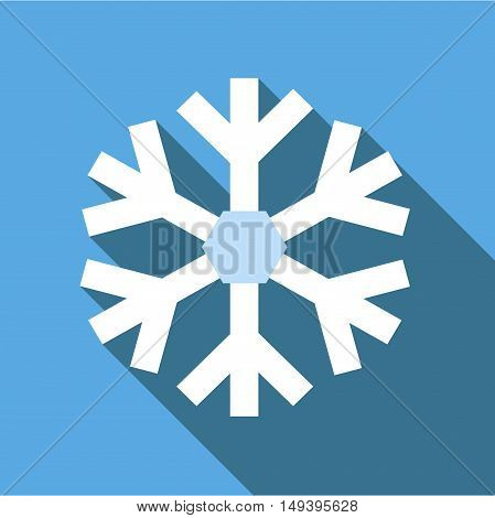 Snowflake icon in flat style isolated with long shadow vector illustration