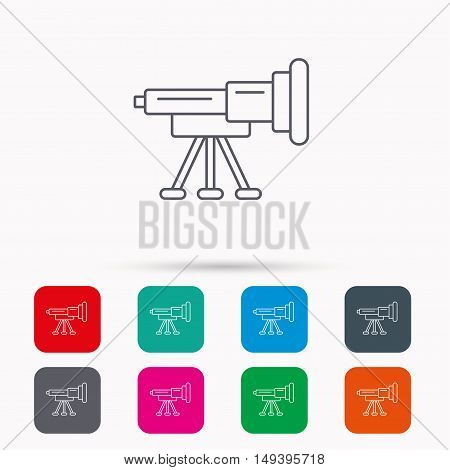 Telescope icon. Spyglass sign. Astronomy magnify lens symbol. Linear icons in squares on white background. Flat web symbols. Vector