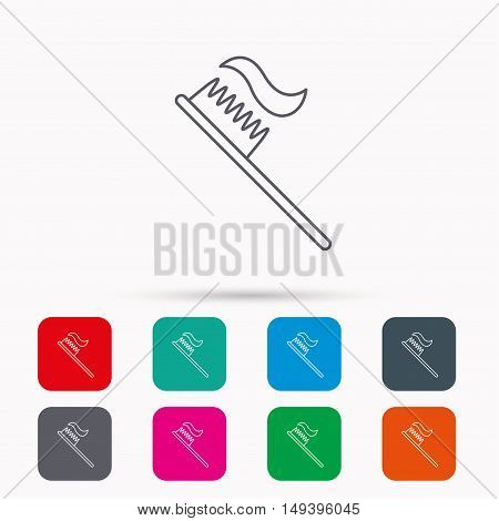 Toothbrush icon. Toothpaste sign. Dental oral cleaning symbol. Linear icons in squares on white background. Flat web symbols. Vector