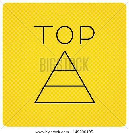 Triangle icon. Top or best result sign. Success symbol. Linear icon on orange background. Vector