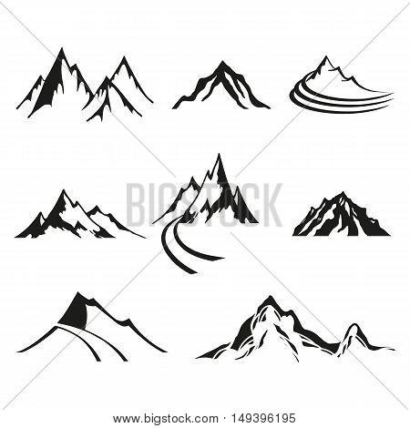 Vector set of logos isolate mountains black silhouettes on white background.