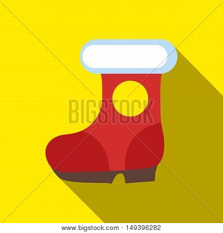 Winter shoes icon in flat style isolated with long shadow vector illustration