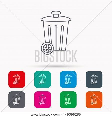 Recycle bin icon. Trash container sign. Street rubbish symbol. Linear icons in squares on white background. Flat web symbols. Vector