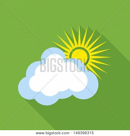 Sun with cloud icon in flat style isolated with long shadow vector illustration