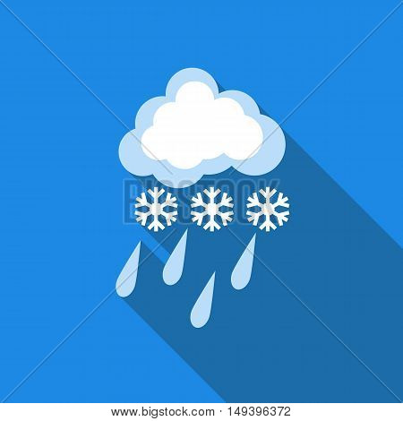 Winter cloud snow day icon in flat style isolated with long shadow vector illustration