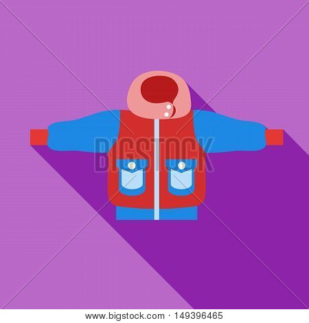 Winter jacket icon in flat style isolated with long shadow vector illustration