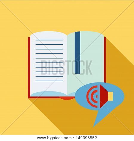 Audio translation icon in flat style isolated with long shadow vector illustration