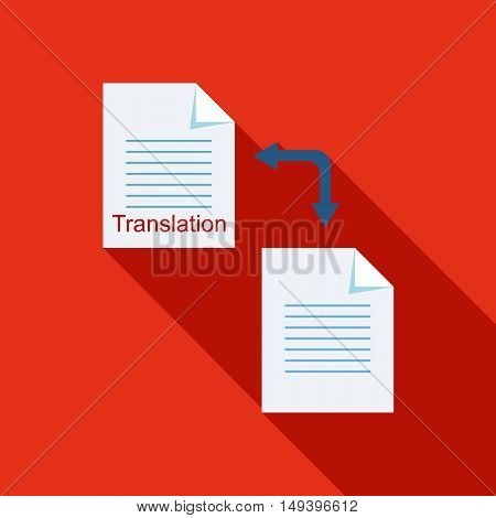 Translation of text on computer icon in flat style with long shadow vector illustration