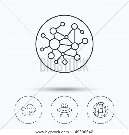 Ufo, planet and global network icons. Wind linear sign. Linear icons in circle buttons. Flat web symbols. Vector