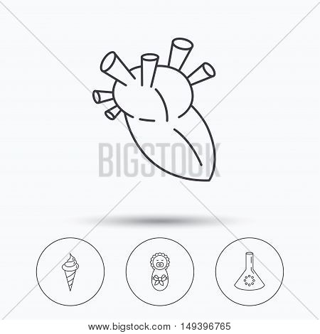 Newborn, heart and lab bulb icons. Ice cream linear sign. Linear icons in circle buttons. Flat web symbols. Vector