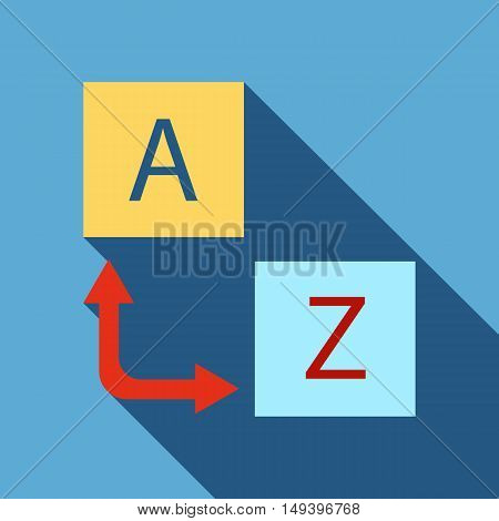 Logo translator icon in flat style isolated with long shadow vector illustration