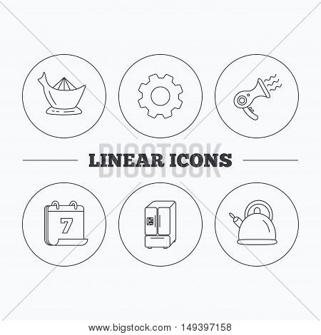 Hair-dryer, teapot and juicer icons. Refrigerator fridge linear sign. Flat cogwheel and calendar symbols. Linear icons in circle buttons. Vector