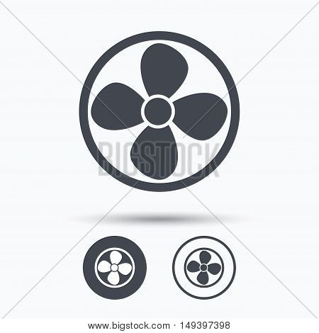 Ventilation icon. Air ventilator or fan symbol. Circle buttons with flat web icon on white background. Vector