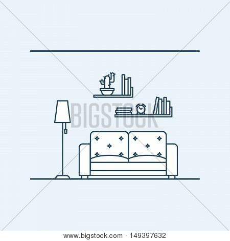 Modern interior design of living in an apartment or house. The lamp next to a comfortable sofa. Bookshelves with a clock and plant. Vector illustration in linear style, isolated on gray background