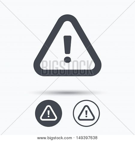Warning icon. Attention exclamation mark symbol. Circle buttons with flat web icon on white background. Vector