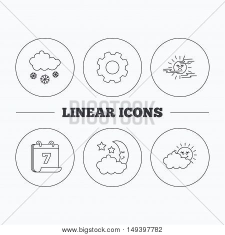 Weather, mist and snow icons. Moon night, clouds linear signs. Flat cogwheel and calendar symbols. Linear icons in circle buttons. Vector