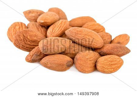 Heap of Almond Nuts on White Background