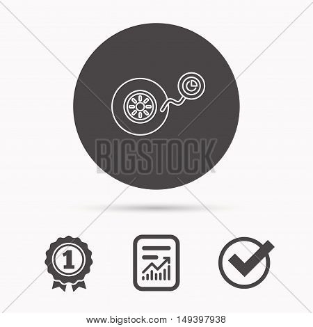 Wheel pressure icon. Tire service sign. Report document, winner award and tick. Round circle button with icon. Vector
