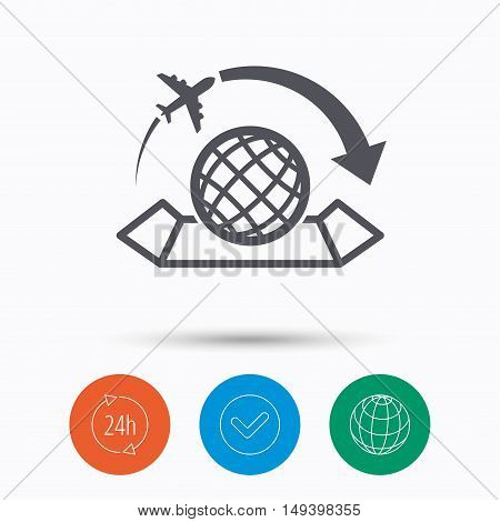 World map icon. Globe with arrow sign. Plane travel symbol. Check tick, 24 hours service and internet globe. Linear icons on white background. Vector