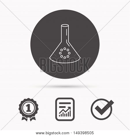 Laboratory bulb or beaker icon. Chemistry sign. Science or pharmaceutical symbol. Report document, winner award and tick. Round circle button with icon. Vector