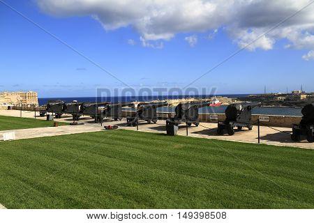 Gun Fire Of Saluting Lascaris Battery In Valletta, Malta
