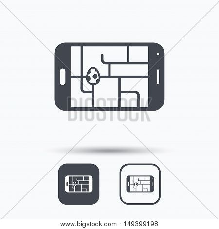 Gps street navigation with dinosaur egg icon. Pokemon egg concept. Square buttons with flat web icon on white background. Vector