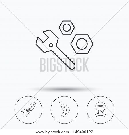 Wrench tool, pliers and drill icons. Bucket of paint linear signs. Linear icons in circle buttons. Flat web symbols. Vector